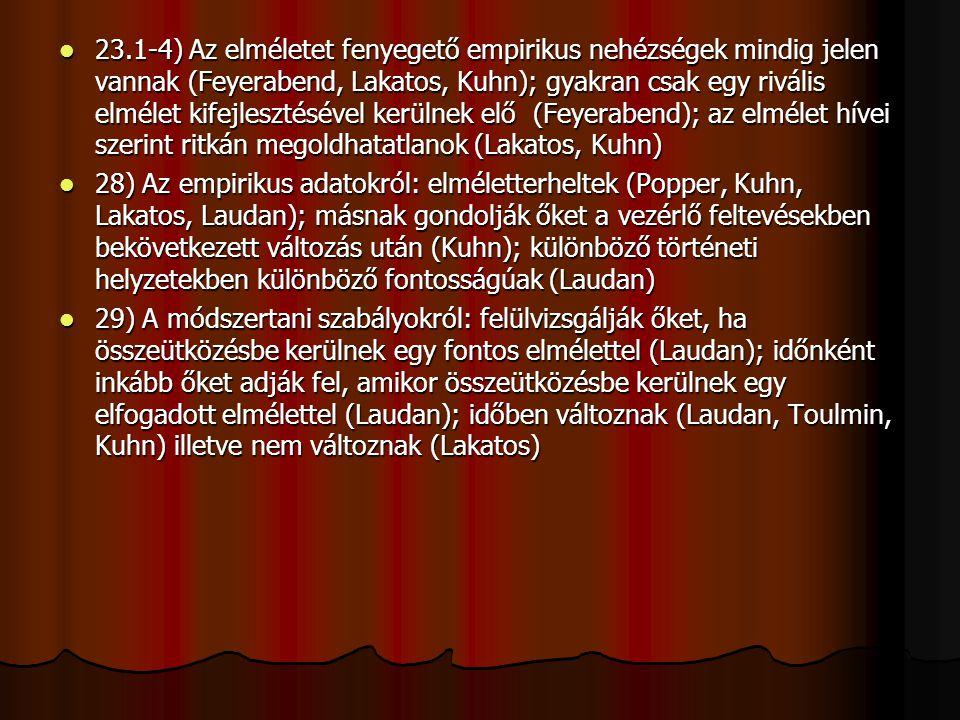 23.1-4) Az elméletet fenyegető empirikus nehézségek mindig jelen vannak (Feyerabend, Lakatos, Kuhn); gyakran csak egy rivális elmélet kifejlesztésével