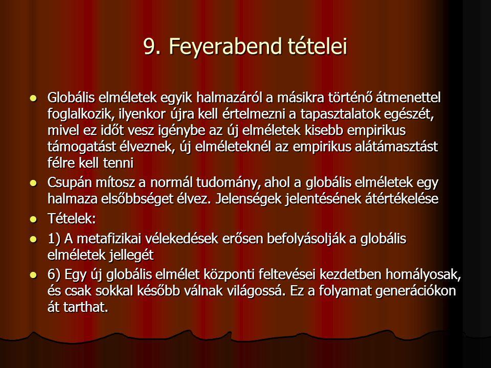 9. Feyerabend tételei Globális elméletek egyik halmazáról a másikra történő átmenettel foglalkozik, ilyenkor újra kell értelmezni a tapasztalatok egés