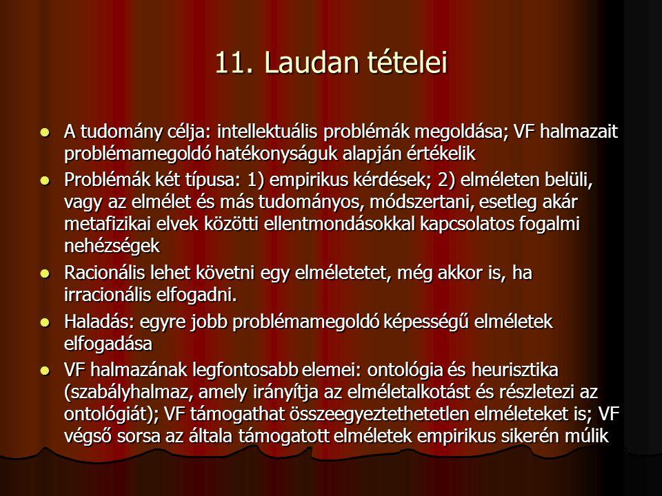 11. Laudan tételei A tudomány célja: intellektuális problémák megoldása; VF halmazait problémamegoldó hatékonyságuk alapján értékelik A tudomány célja