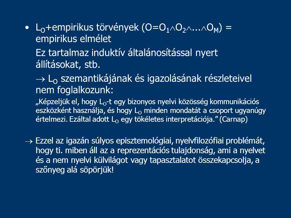L O +empirikus törvények (O=O 1  O 2 ...
