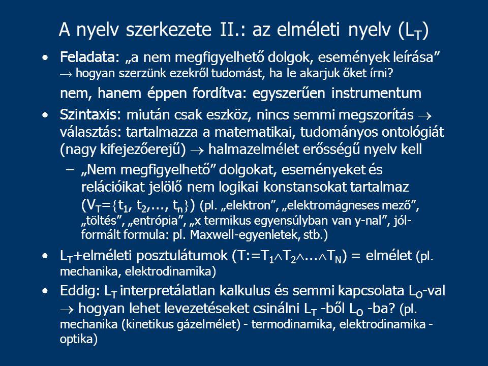 """A nyelv szerkezete II.: az elméleti nyelv (L T ) Feladata: """"a nem megfigyelhető dolgok, események leírása  hogyan szerzünk ezekről tudomást, ha le akarjuk őket írni."""