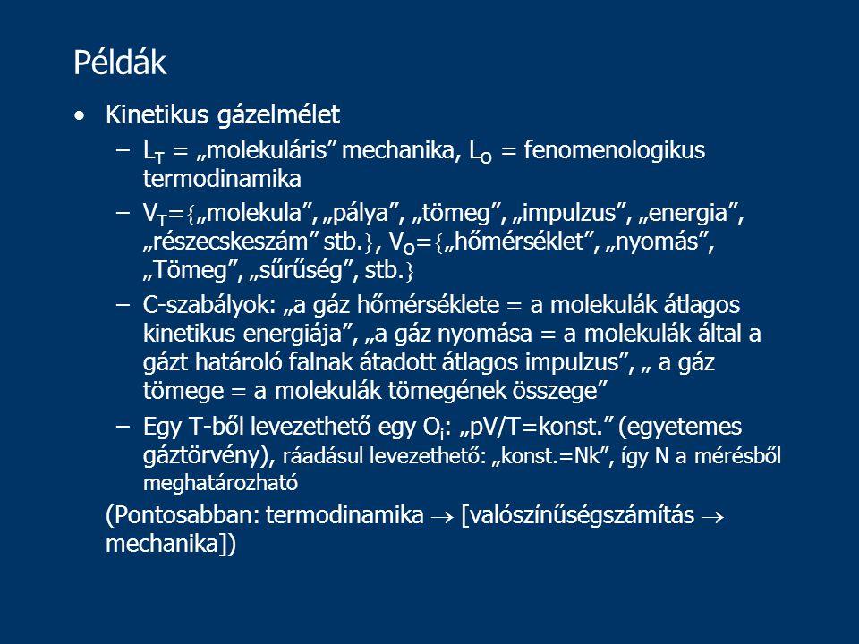 """Példák Kinetikus gázelmélet –L T = """"molekuláris mechanika, L O = fenomenologikus termodinamika –V T =  """"molekula , """"pálya , """"tömeg , """"impulzus , """"energia , """"részecskeszám stb."""