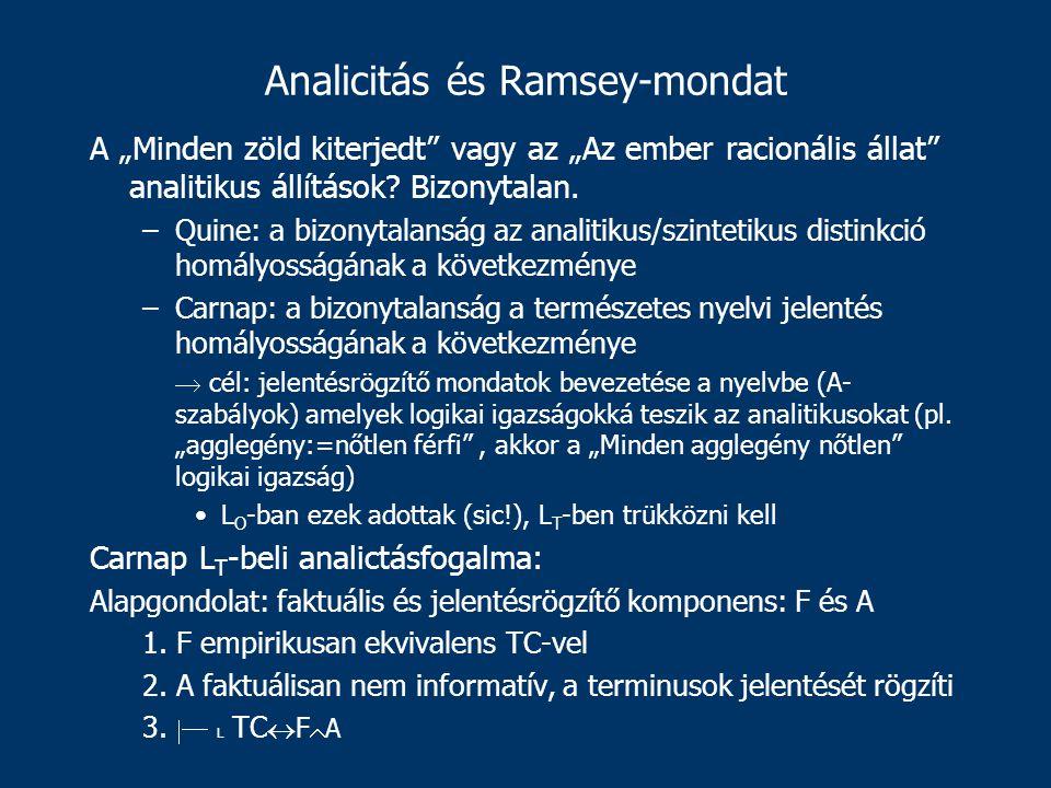 """Analicitás és Ramsey-mondat A """"Minden zöld kiterjedt vagy az """"Az ember racionális állat analitikus állítások."""