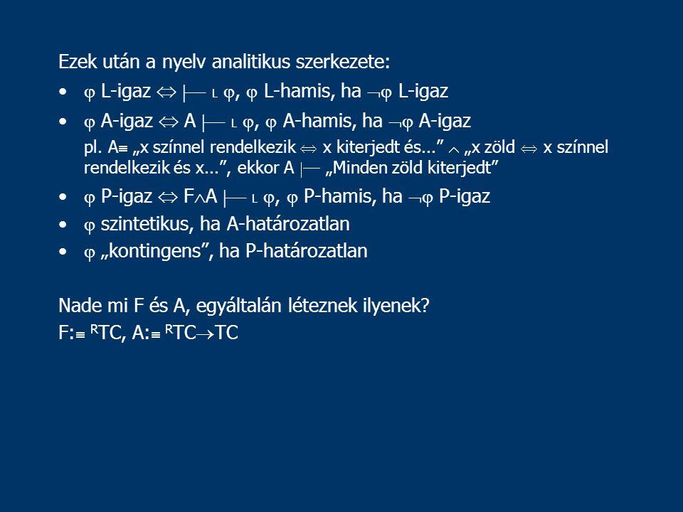 Ezek után a nyelv analitikus szerkezete:  L-igaz   L ,  L-hamis, ha  L-igaz  A-igaz  A  L ,  A-hamis, ha  A-igaz pl.
