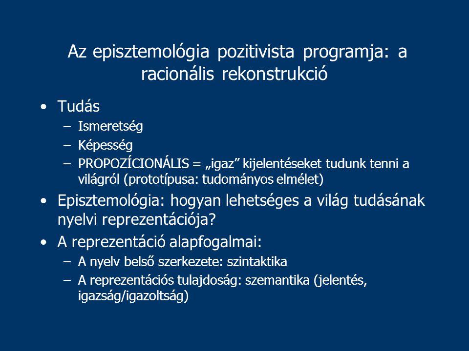 """Az episztemológia pozitivista programja: a racionális rekonstrukció Tudás –Ismeretség –Képesség –PROPOZÍCIONÁLIS = """"igaz kijelentéseket tudunk tenni a világról (prototípusa: tudományos elmélet) Episztemológia: hogyan lehetséges a világ tudásának nyelvi reprezentációja."""