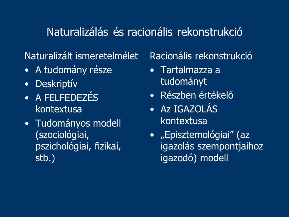 """Naturalizálás és racionális rekonstrukció Naturalizált ismeretelmélet A tudomány része Deskriptív A FELFEDEZÉS kontextusa Tudományos modell (szociológiai, pszichológiai, fizikai, stb.) Racionális rekonstrukció Tartalmazza a tudományt Részben értékelő Az IGAZOLÁS kontextusa """"Episztemológiai (az igazolás szempontjaihoz igazodó) modell"""
