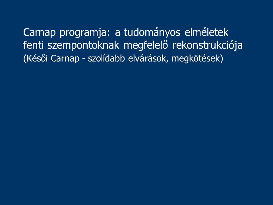 Carnap programja: a tudományos elméletek fenti szempontoknak megfelelő rekonstrukciója (Késői Carnap - szolídabb elvárások, megkötések)