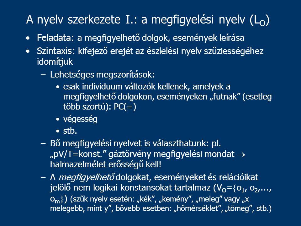 """A nyelv szerkezete I.: a megfigyelési nyelv (L O ) Feladata: a megfigyelhető dolgok, események leírása Szintaxis: kifejező erejét az észlelési nyelv szűziességéhez idomítjuk –Lehetséges megszorítások: csak individuum változók kellenek, amelyek a megfigyelhető dolgokon, eseményeken """"futnak (esetleg több szortú): PC(=) végesség stb."""