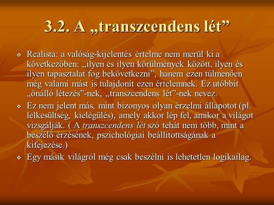 """3.2. A """"transzcendens lét""""  Realista: a valóság-kijelentés értelme nem merül ki a következőben: """"ilyen és ilyen körülmények között, ilyen és ilyen ta"""