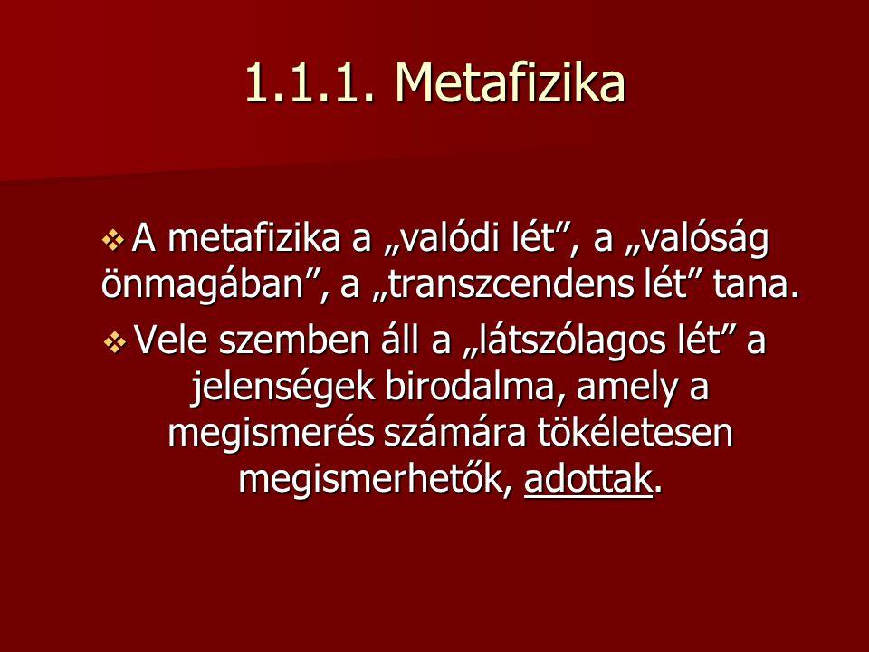 """1.1.1. Metafizika  A metafizika a """"valódi lét"""", a """"valóság önmagában"""", a """"transzcendens lét"""" tana.  Vele szemben áll a """"látszólagos lét"""" a jelensége"""