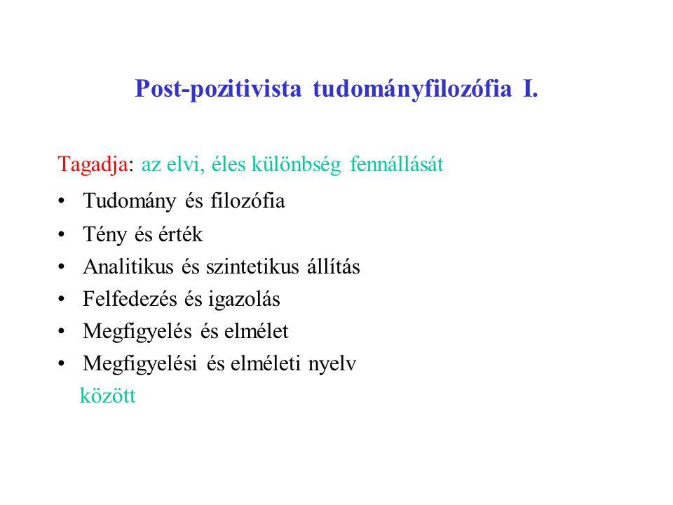 Post-pozitivista tudományfilozófia I.