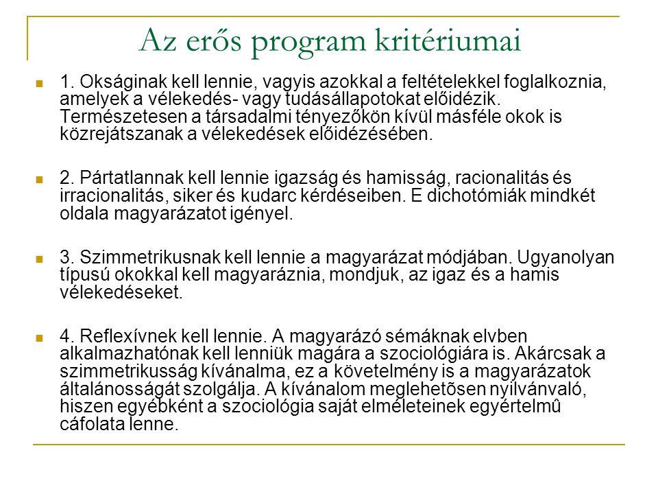 Az erős program kritériumai 1.
