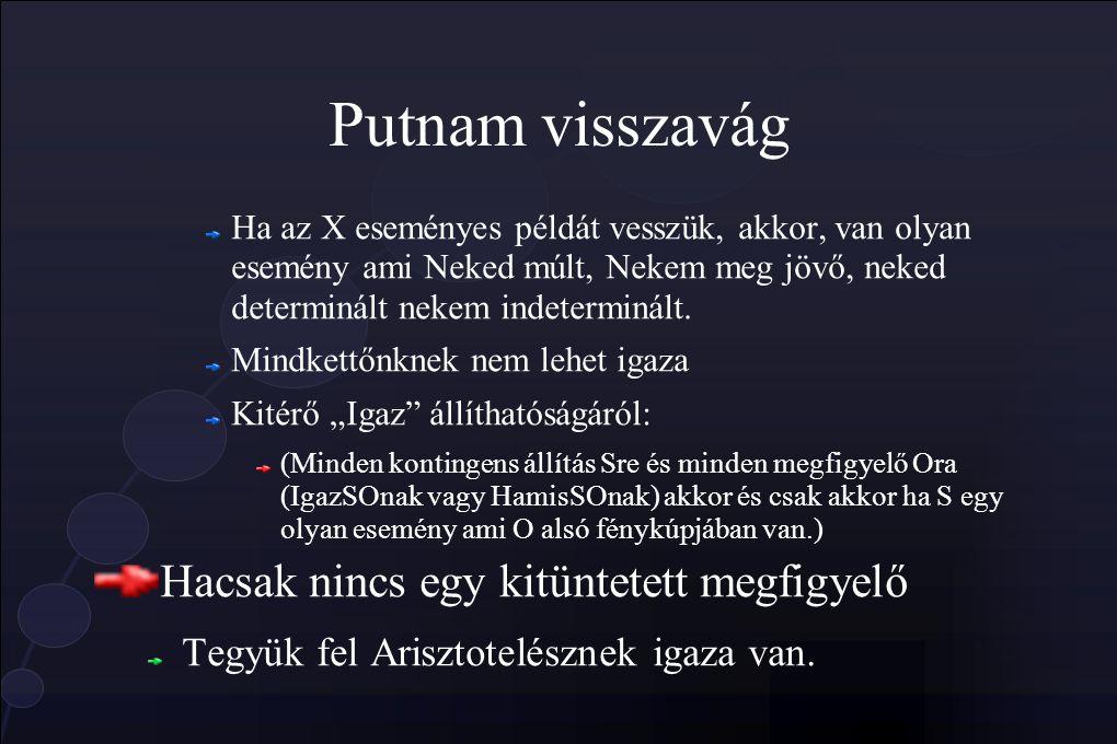 Putnam visszavág Ha az X eseményes példát vesszük, akkor, van olyan esemény ami Neked múlt, Nekem meg jövő, neked determinált nekem indeterminált.