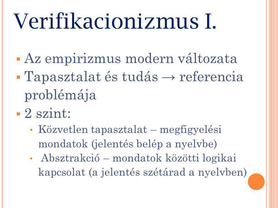 Verifikacionizmus I.