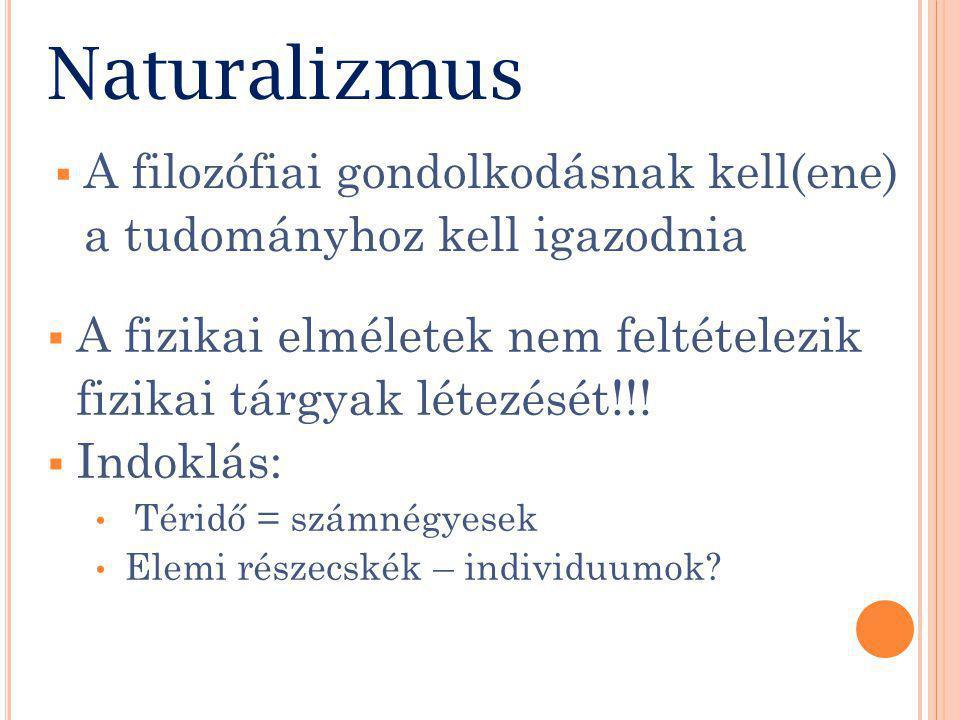 Naturalizmus  A fizikai elméletek nem feltételezik fizikai tárgyak létezését!!.