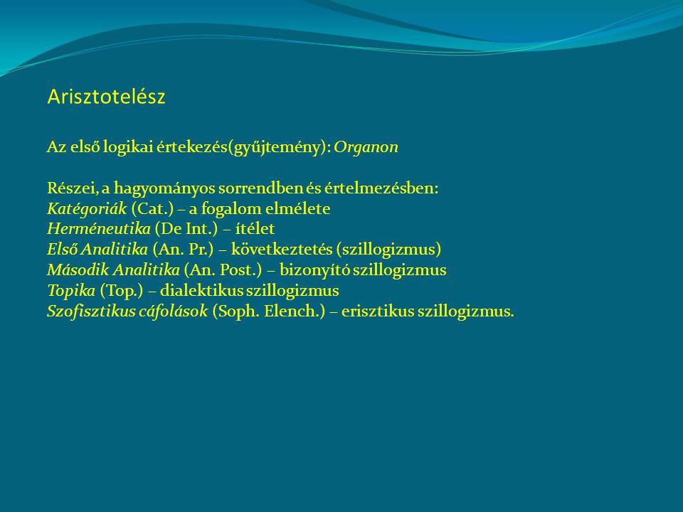 Arisztotelész Az első logikai értekezés(gyűjtemény): Organon Részei, a hagyományos sorrendben és értelmezésben: Katégoriák (Cat.) – a fogalom elmélete