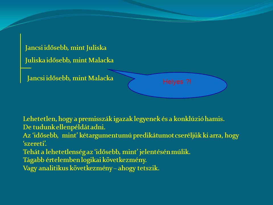 Jancsi idősebb, mint Juliska Juliska idősebb, mint Malacka Jancsi idősebb, mint Malacka Helyes ?! Lehetetlen, hogy a premisszák igazak legyenek és a k