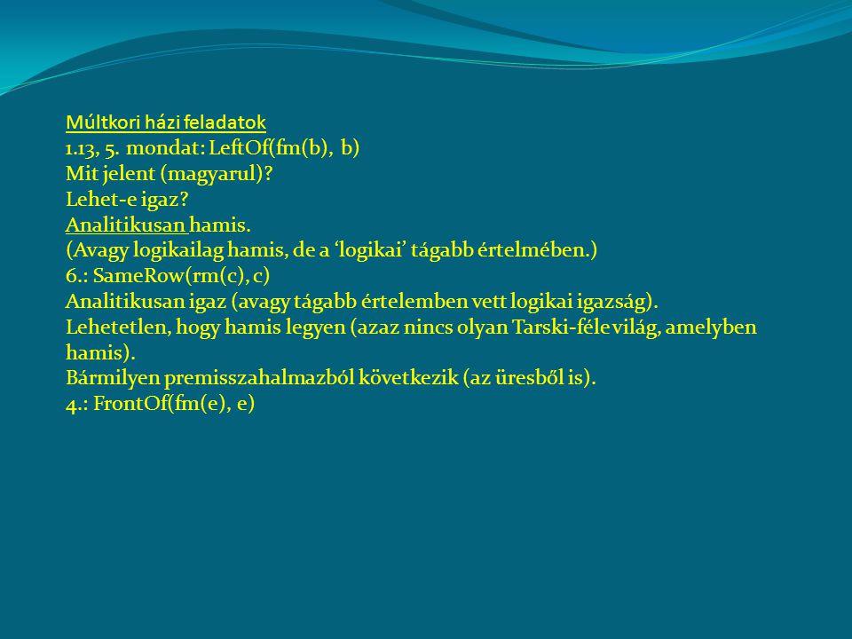 Múltkori házi feladatok 1.13, 5. mondat: LeftOf(fm(b), b) Mit jelent (magyarul)? Lehet-e igaz? Analitikusan hamis. (Avagy logikailag hamis, de a 'logi