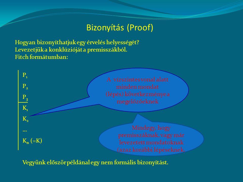 Bizonyítás (Proof) P1P1 P2P2 P3P3 K1K1 K2K2 … K n (=K) Vegyünk először példánal egy nem formális bizonyítást. A vízszintes vonal alatt minden mondat (