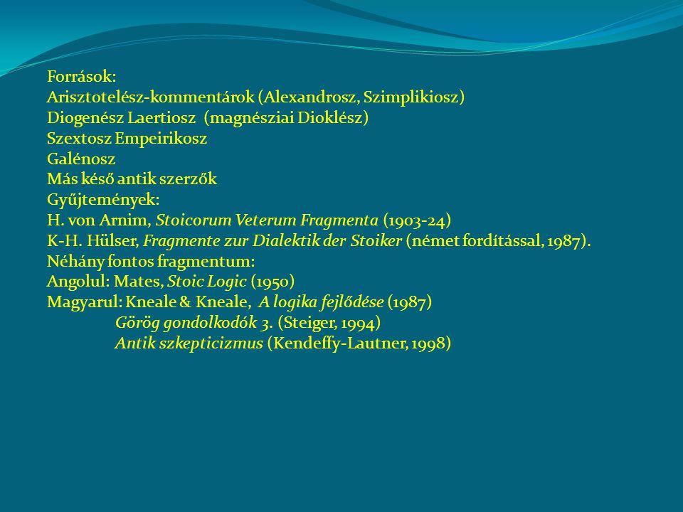 Források: Arisztotelész-kommentárok (Alexandrosz, Szimplikiosz) Diogenész Laertiosz (magnésziai Dioklész) Szextosz Empeirikosz Galénosz Más késő antik szerzők Gyűjtemények: H.