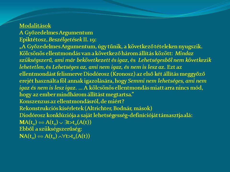 Modalitások A Győzedelmes Argumentum Epiktétosz, Beszélgetések II.