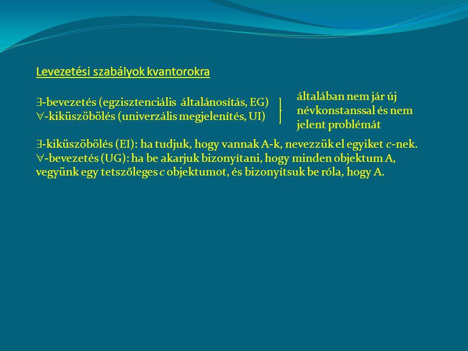 Levezetési szabályok kvantorokra  -bevezetés (egzisztenciális általánosítás, EG)  -kiküszöbölés (univerzális megjelenítés, UI)  -kiküszöbölés (EI):