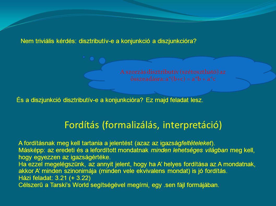 Nem triviális kérdés: disztributív-e a konjunkció a diszjunkcióra.