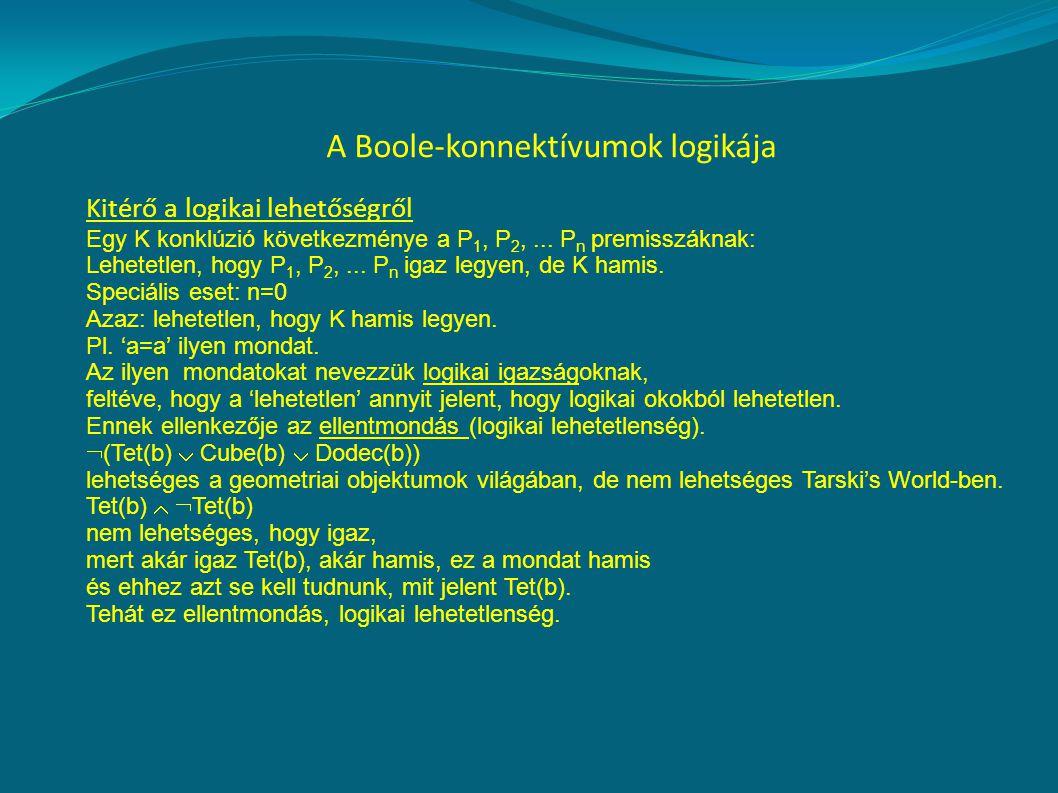A Boole-konnektívumok logikája Kitérő a logikai lehetőségről Egy K konklúzió következménye a P 1, P 2,...