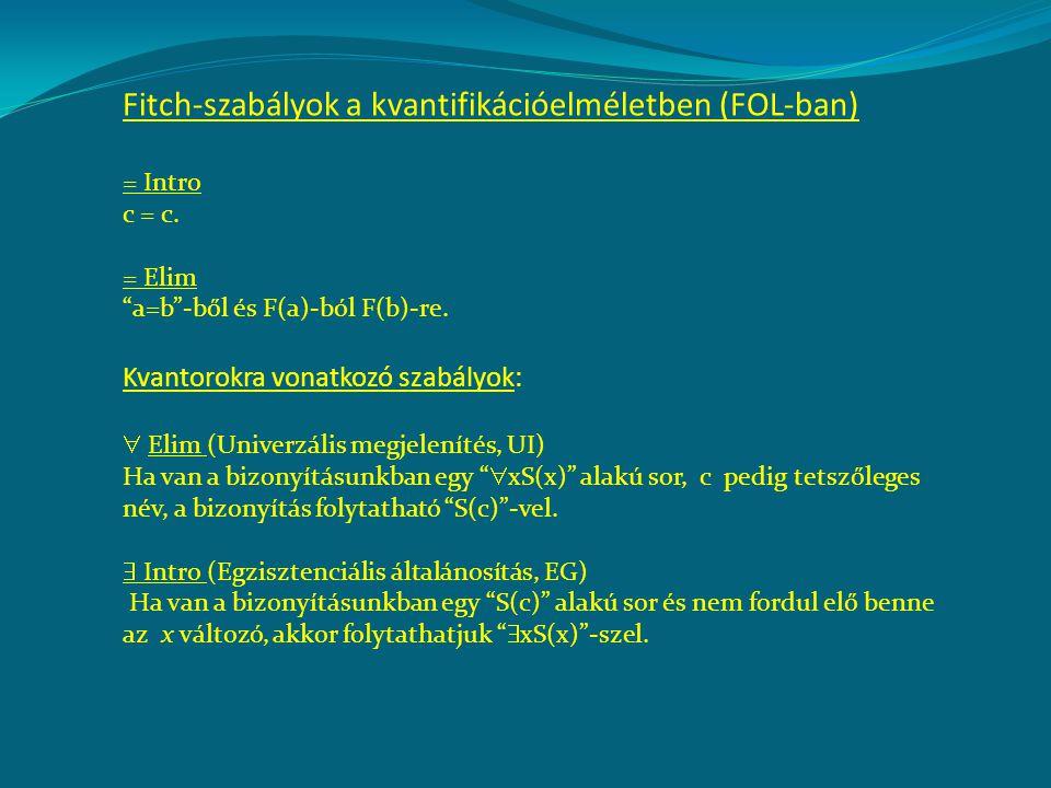 """Fitch-szabályok a kvantifikációelméletben (FOL-ban) = Intro c = c. = Elim """"a=b""""-ből és F(a)-ból F(b)-re. Kvantorokra vonatkozó szabályok:  Elim (Univ"""