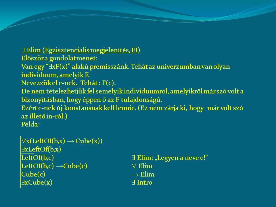  -bevezetés (univerzális általánosítás, UG) Bizonyítsuk be a BARBARA szillogizmust:  x(F(x)  G(x))  x(G(x)  H(x))  x(F(x)  H(x)) Vegyünk egy tetszőleges F-et (egy individuumot, amelyik F) Legyen az ő neve c.