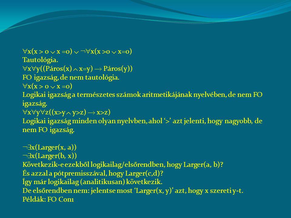  x(x > 0  x =0)   x(x >0  x=0) Tautológia.