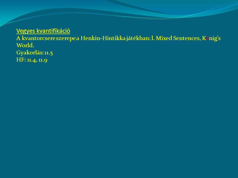 Vegyes kvantifikáció A kvantorcsere szerepe a Henkin-Hintikka játékban: l. Mixed Sentences, Kőnig's World. Gyakorlás: 11.5 HF: 11.4, 11.9