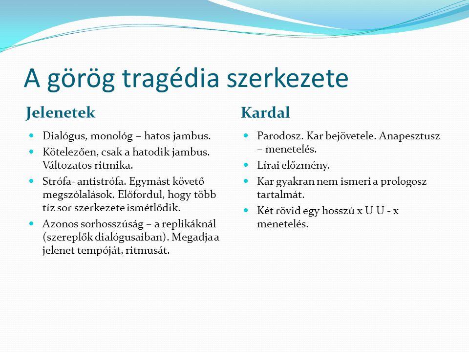 A görög tragédia szerkezete Jelenetek Kardal Dialógus, monológ – hatos jambus.