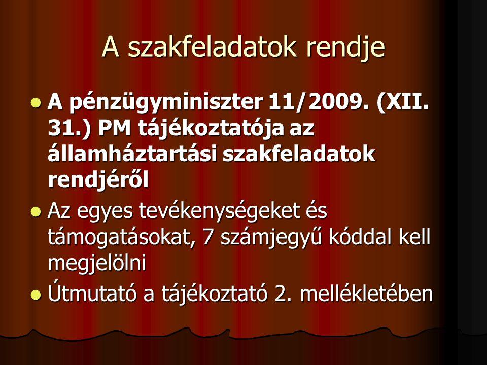 A szakfeladatok rendje A pénzügyminiszter 11/2009. (XII. 31.) PM tájékoztatója az államháztartási szakfeladatok rendjéről A pénzügyminiszter 11/2009.