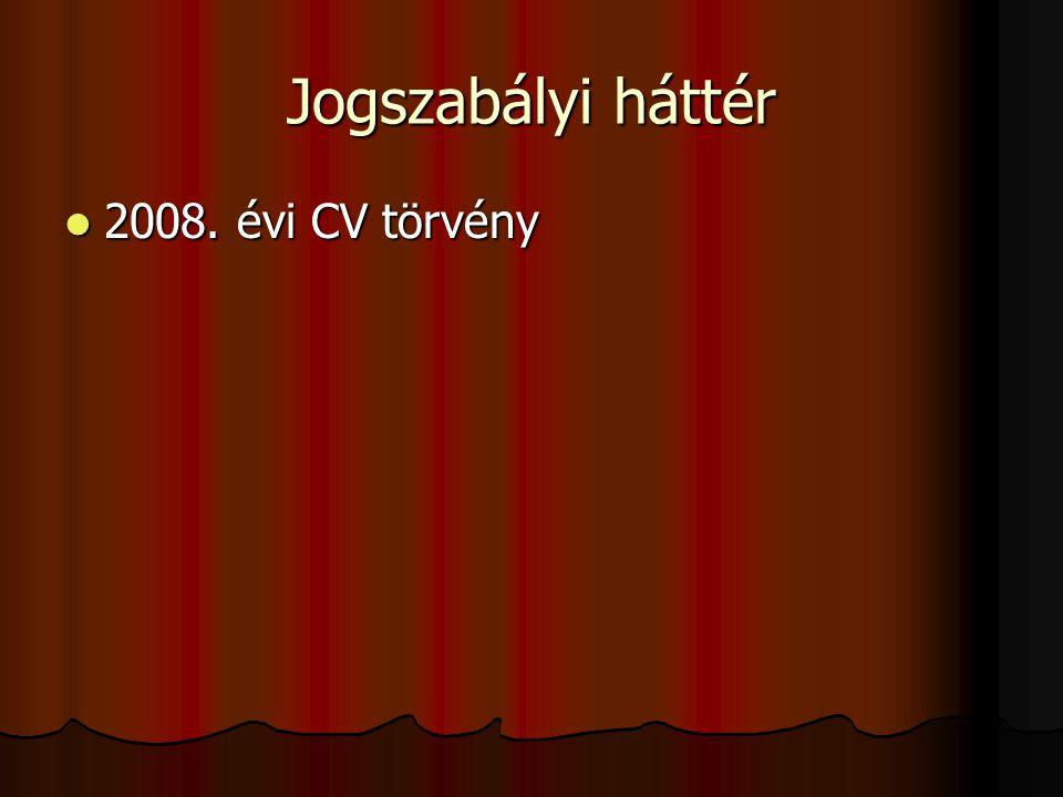 Jogszabályi háttér 2008. évi CV törvény 2008. évi CV törvény