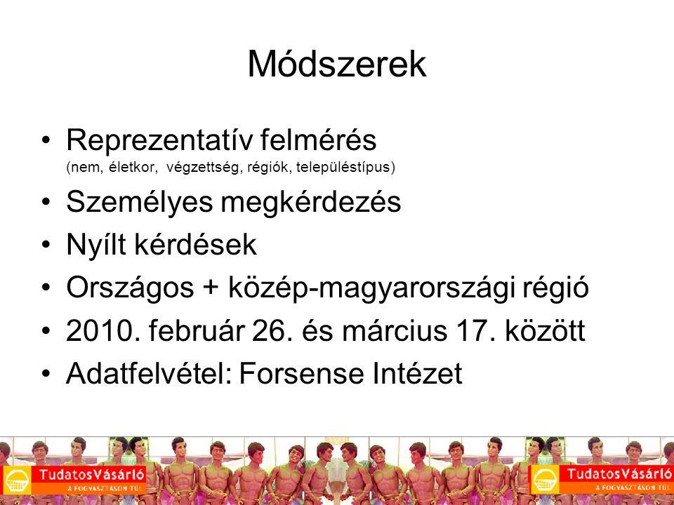 5 Módszerek Reprezentatív felmérés (nem, életkor, végzettség, régiók, településtípus) Személyes megkérdezés Nyílt kérdések Országos + közép-magyarországi régió 2010.