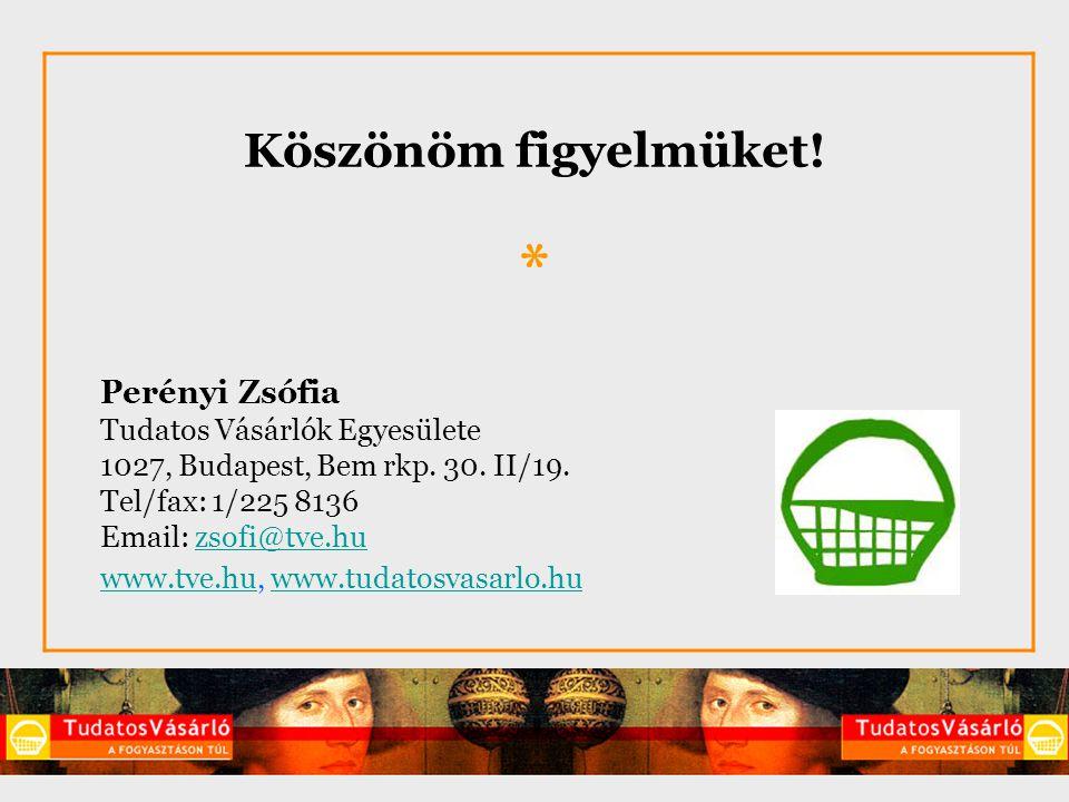 Köszönöm figyelmüket! * Perényi Zsófia Tudatos Vásárlók Egyesülete 1027, Budapest, Bem rkp. 30. II/19. Tel/fax: 1/225 8136 Email: zsofi@tve.huzsofi@tv