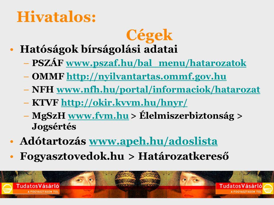 Hivatalos: Cégek Hatóságok bírságolási adatai –PSZÁF www.pszaf.hu/bal_menu/hatarozatokwww.pszaf.hu/bal_menu/hatarozatok –OMMF http://nyilvantartas.omm