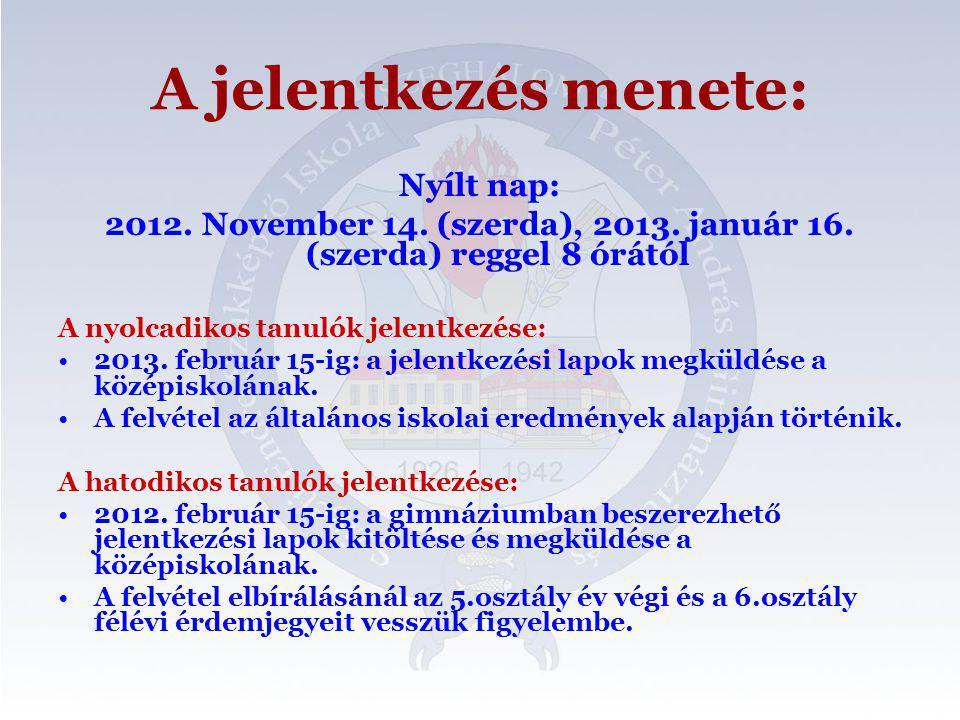 A jelentkezés menete: Nyílt nap: 2012. November 14.