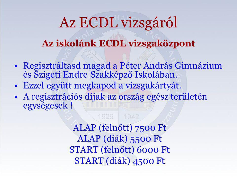 Az ECDL vizsgáról Az iskolánk ECDL vizsgaközpont Regisztráltasd magad a Péter András Gimnázium és Szigeti Endre Szakképző Iskolában.