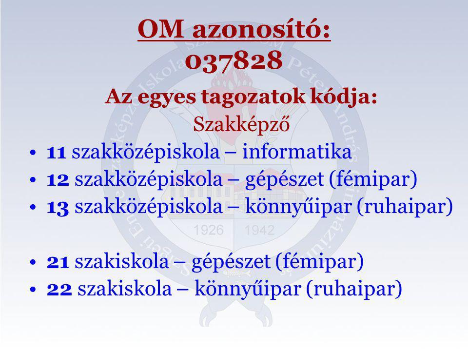 OM azonosító: 037828 Az egyes tagozatok kódja: Szakképző 11 szakközépiskola – informatika 12 szakközépiskola – gépészet (fémipar) 13 szakközépiskola – könnyűipar (ruhaipar) 21 szakiskola – gépészet (fémipar) 22 szakiskola – könnyűipar (ruhaipar)