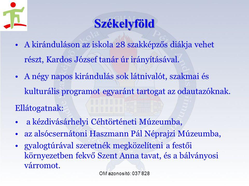 OM azonosító: 037 828 Székelyföld A kiránduláson az iskola 28 szakképzős diákja vehet részt, Kardos József tanár úr irányításával.