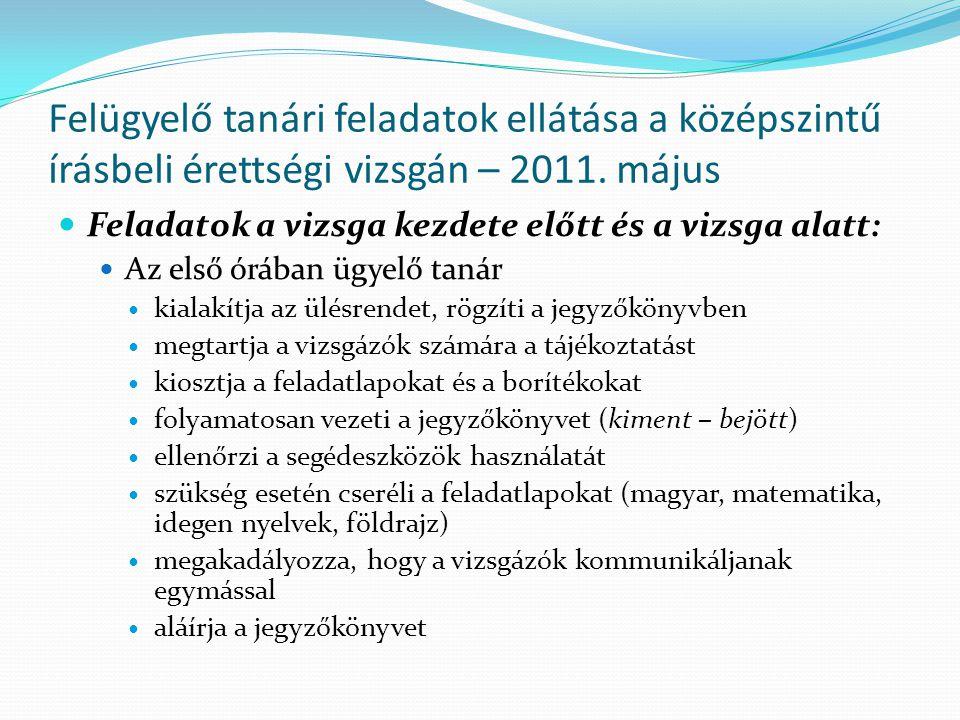 05.02.(Hétfő) – Magyar nyelv és irodalom Az első ügyelők: Helyettes ügyelők: Körmendiné O.