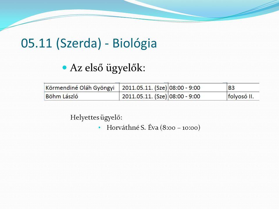 05.11 (Szerda) - Biológia Az első ügyelők: Helyettes ügyelő: Horváthné S. Éva (8:00 – 10:00)
