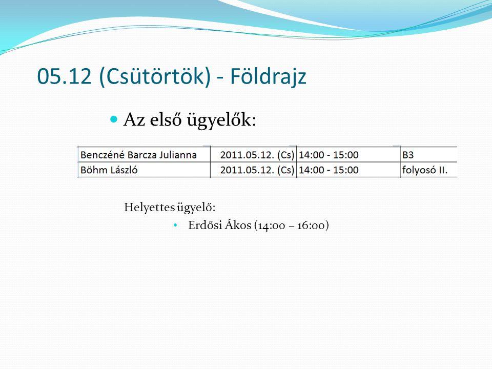 05.12 (Csütörtök) - Földrajz Az első ügyelők: Helyettes ügyelő: Erdősi Ákos (14:00 – 16:00)