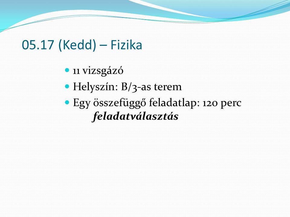 05.17 (Kedd) – Fizika 11 vizsgázó Helyszín: B/3-as terem Egy összefüggő feladatlap: 120 perc feladatválasztás