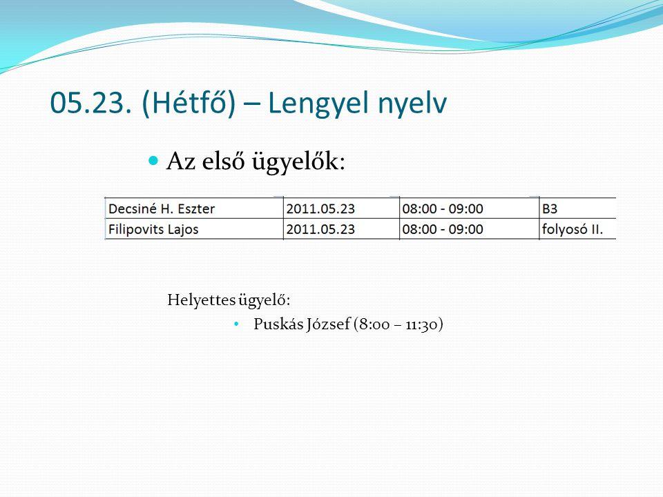 05.23. (Hétfő) – Lengyel nyelv Az első ügyelők: Helyettes ügyelő: Puskás József (8:00 – 11:30)