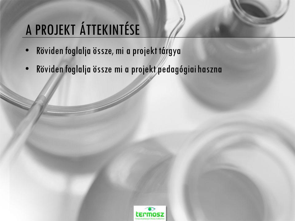 A PROJEKT ÁTTEKINTÉSE Röviden foglalja össze, mi a projekt tárgya Röviden foglalja össze mi a projekt pedagógiai haszna