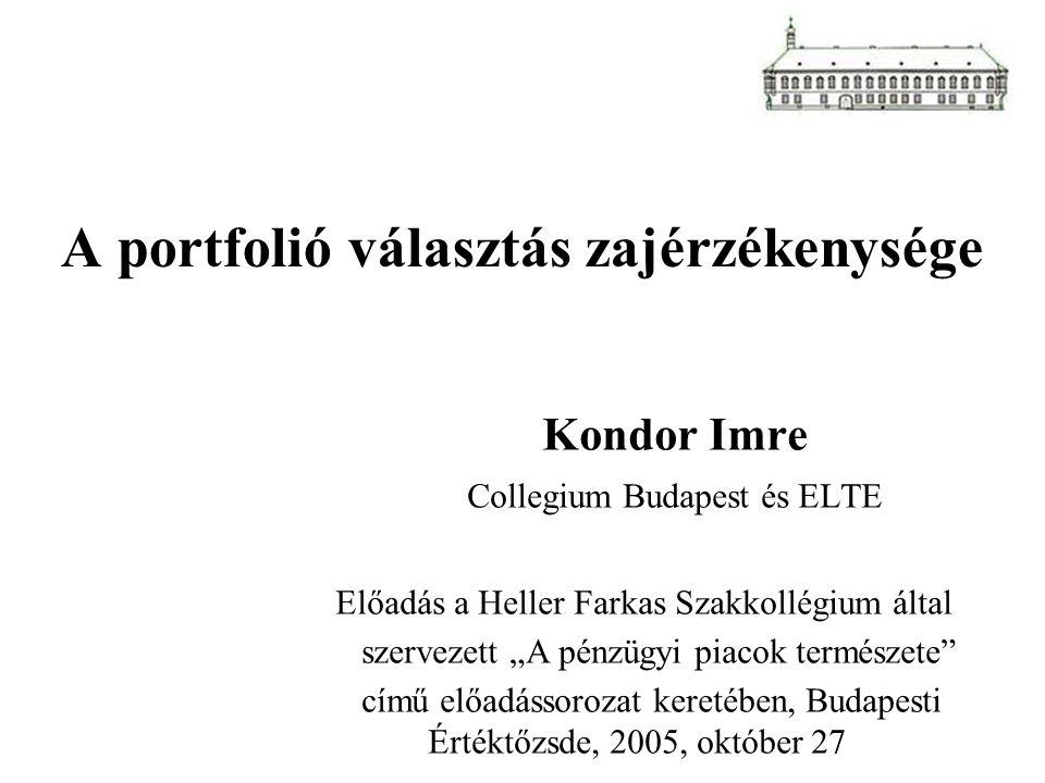 """A portfolió választás zajérzékenysége Kondor Imre Collegium Budapest és ELTE Előadás a Heller Farkas Szakkollégium által szervezett """"A pénzügyi piacok"""