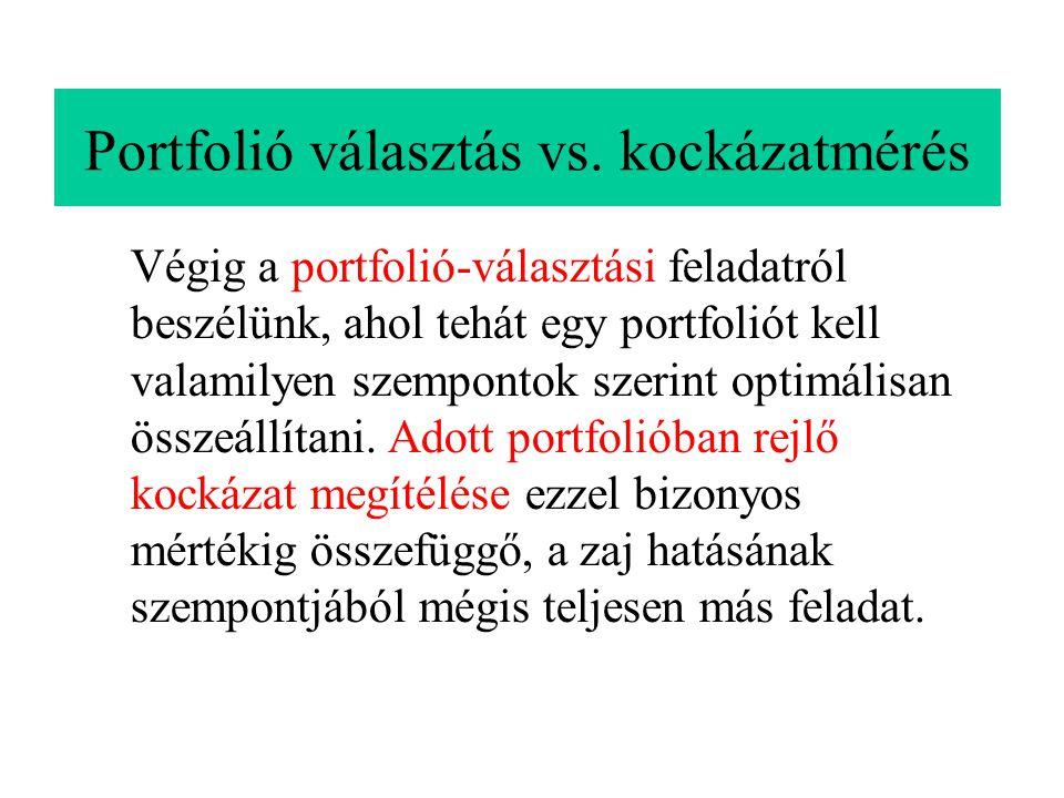 Portfolió választás vs. kockázatmérés Végig a portfolió-választási feladatról beszélünk, ahol tehát egy portfoliót kell valamilyen szempontok szerint